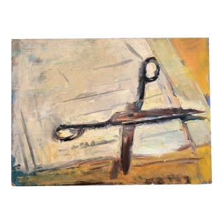 Vintage Modernist Original Still Life Painting of Scissors Mid Century For Sale