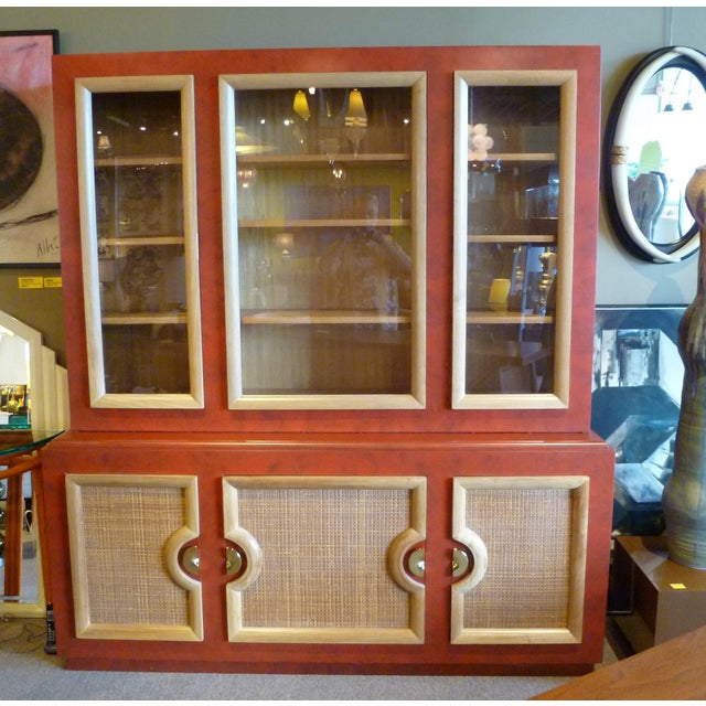 Stewartstown Furniture Company 1940s Antique Paul Laszlo Style Faux Red Leather Finished Buffet / Breakfront For Sale - Image 4 of 13