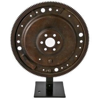 Rustic Flywheel on Display Stand For Sale