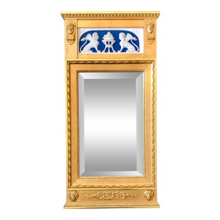 Egyptian Revival Trumeau Gilt Beveled Mirror Plaster Frieze For Sale