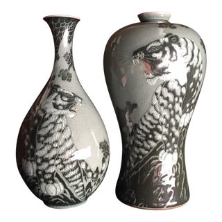 Maebyeong Celadon Hand Painted Vases With Battling Tigers - a Pair For Sale