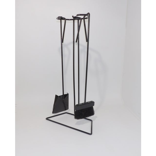 Mid-Century Modern Wrought Iron Fireplace Tool Set For Sale - Image 9 of 9