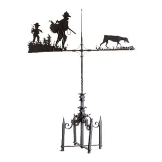Enormous Hand Made Antique French Iron Hunting Motif Weather Vane Circa 1900 For Sale