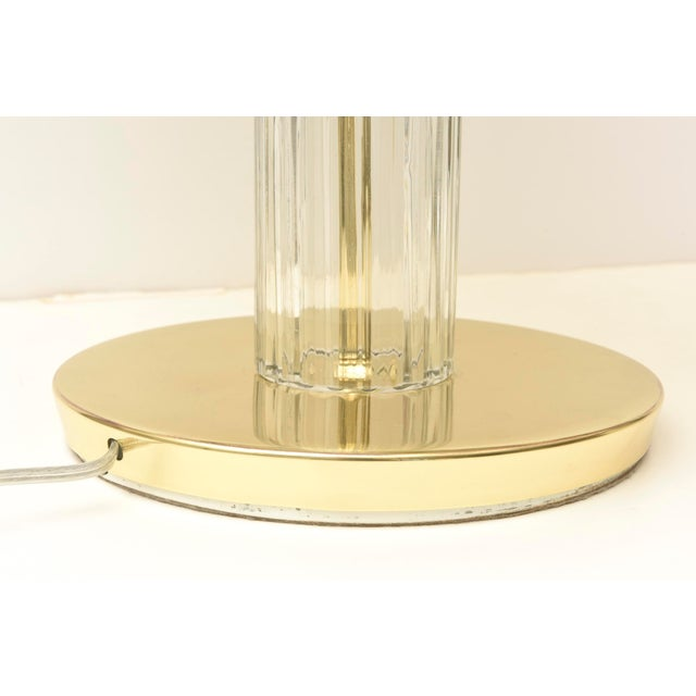 Italian Vintage Murano Vistosi Glass and Polished Brass Dome Table/Desk Lamp For Sale - Image 9 of 10