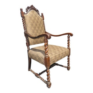 Vintage Spanish Style Barley Twist Throne Arm Chair Ornately Carved For Sale