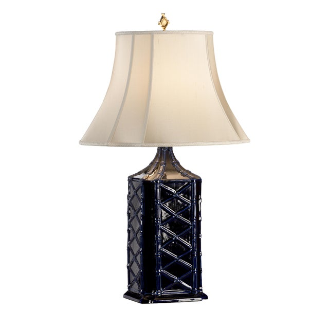 This is a Stanton lamp by Chelsea House Inc. The piece feature a ceramic blue base.