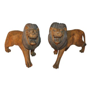 Pair of 19th Century Monumental Hand Carved & Painted Table Top Lions For Sale