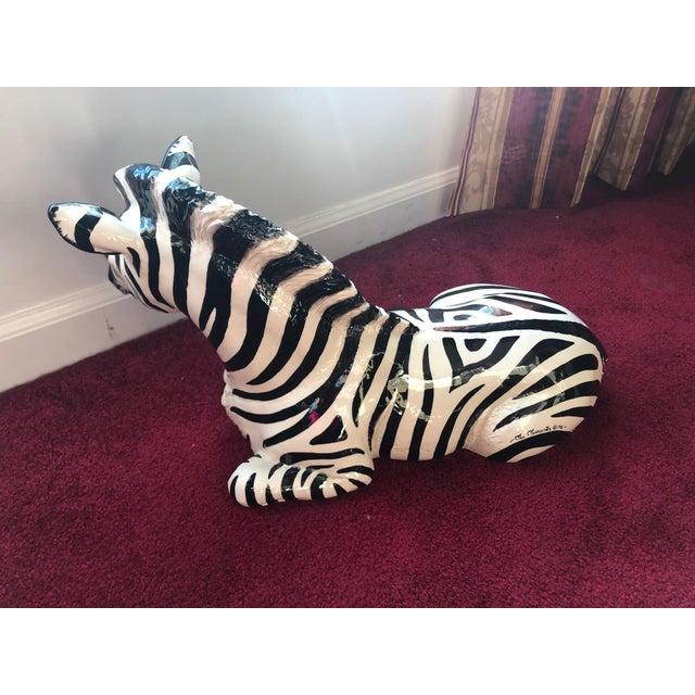 1980s Figurative Ceramic Zebra For Sale - Image 4 of 8