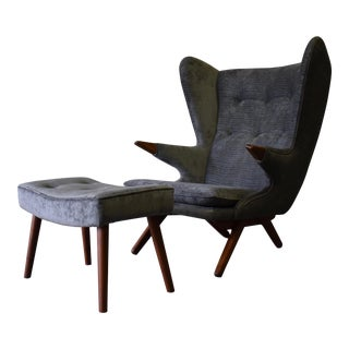 Papa Bear Styled Mid-Century Modern Lounge Chair & Ottoman