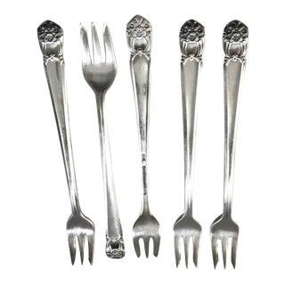 1940s Roger Bros. Silver Cocktail Forks - Set of 5 For Sale