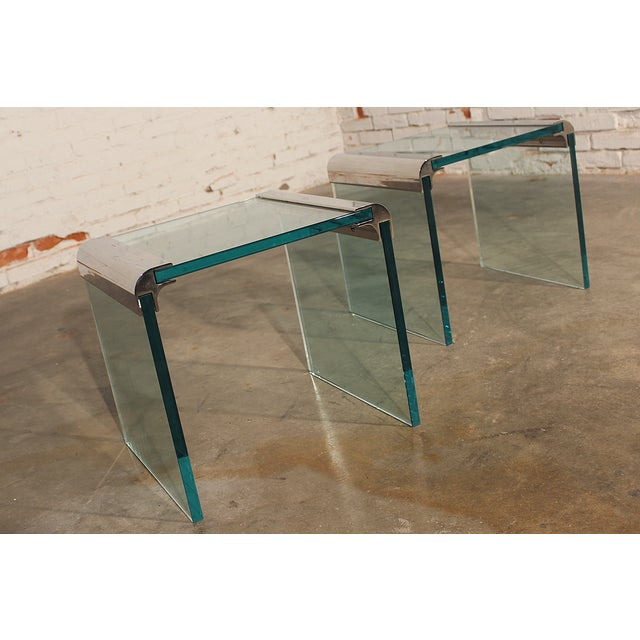 Pace Chrome & Glass Waterfall Side Tables - Pair - Image 7 of 10
