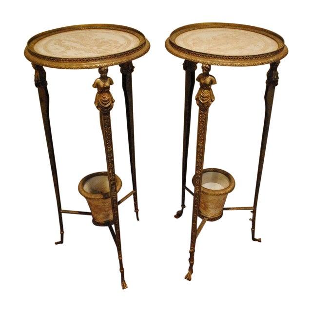 Antique Brass Pedestals - Pair - Image 1 of 9