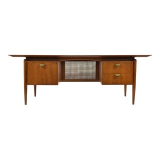 Finn Juhl Double Pedestal Desk by Baker For Sale