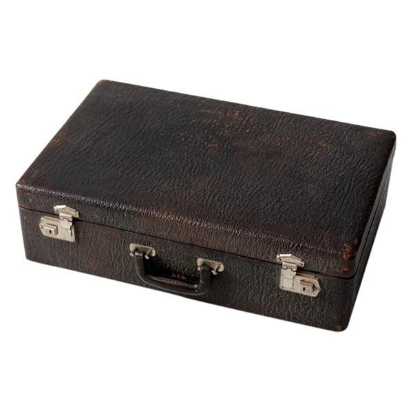 Vintage Black Leather Suitcase - Image 1 of 7