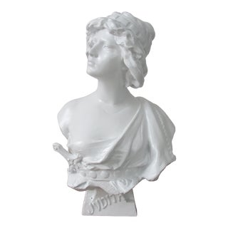Antique French Painted Bust of Judith, Hebrew Heroine For Sale