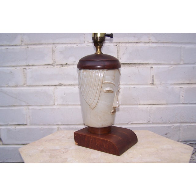 Vintage Art Deco Small Cubist Ceramic & Wood Lamp - Image 4 of 7
