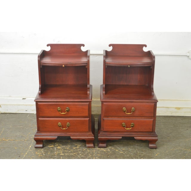 1960s Pennsylvania House Mt Vernon Pair of Solid Cherry Vintage Nightstands For Sale - Image 5 of 13