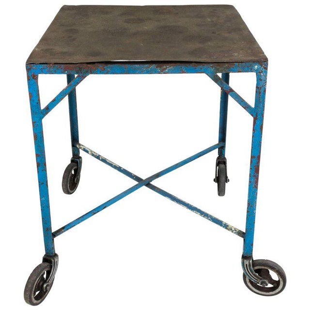 Iron French Industrial Table on Casters For Sale - Image 7 of 7