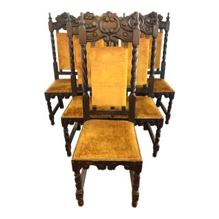 Antique Spanish Mahogany Dining Chairs - Set of 6