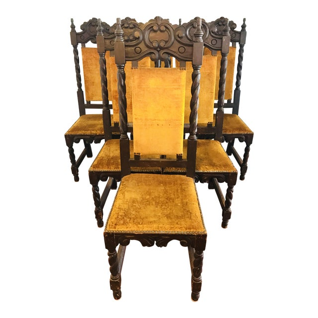 Antique Spanish Mahogany Dining Chairs - Set of 6 - Antique Spanish Mahogany Dining Chairs - Set Of 6 Chairish