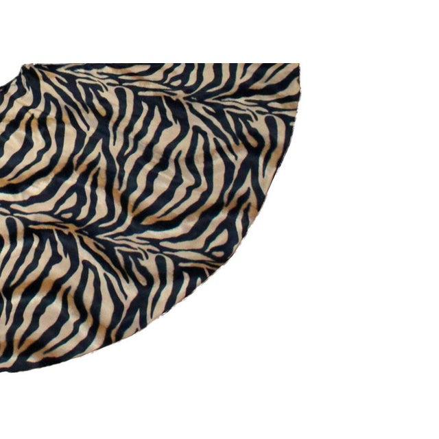 African Plush Vintage Inspired Tiger Animal Print Christmas Tree Skirt For Sale - Image 3 of 4