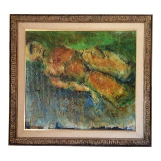 Mid-Century Reclining Nude Mixed Media Painting on Board For Sale