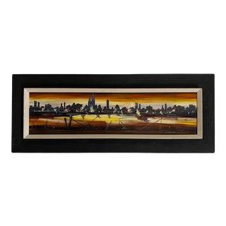 1970s Cityscape Oil Painting by Edgar Starek, Framed For Sale
