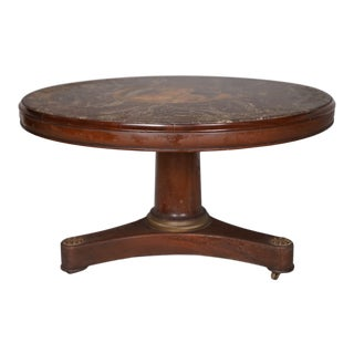 Circa 1930 Art Deco Painted Marble and Mahogany Table by Kittinger For Sale