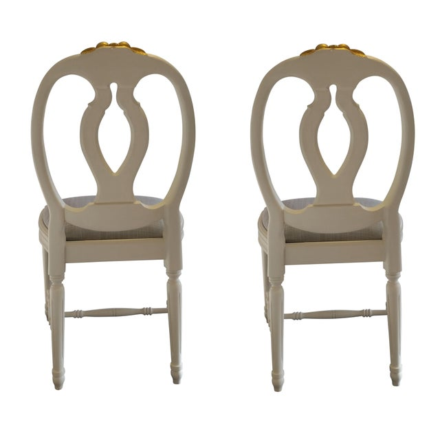 1980s Carved Rose Gustavian Chairs With Gold - Pair For Sale - Image 5 of 11