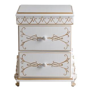 Ari White & Brass Nightstand For Sale