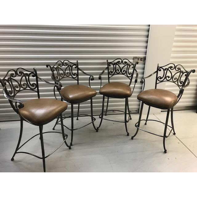 Ethan Allen Metal & Leather Bistro Barstools - Set of 4 For Sale - Image 5 of 5