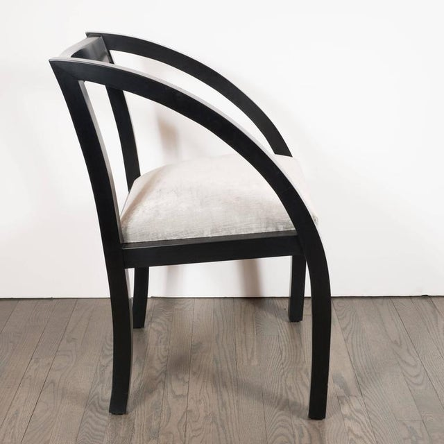 Textile Set of Six Art Deco Dining Chairs by the Modernage Company in Walnut and Velvet For Sale - Image 7 of 8