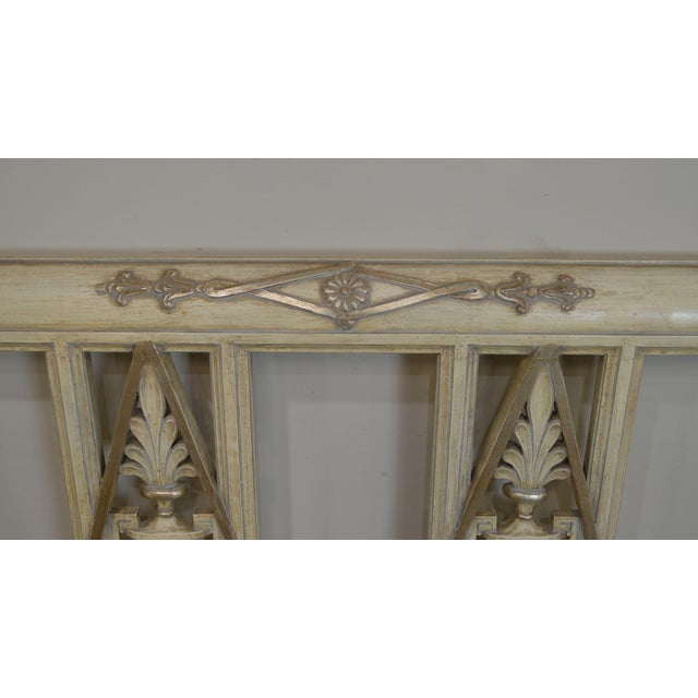 French Regency Directoire Style Vintage Custom Painted King Headboard For Sale - Image 10 of 13