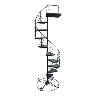 Vintage Wrought Iron Spiral Staircase Plant Stand Garden Art For Sale