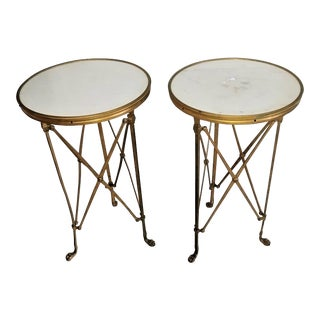 Pair Antique Bronze Gold Gilt Carrera Gueridon Marble Round Side Tables For Sale