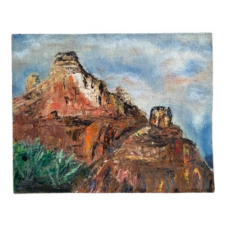 Vintage Southwestern Sedona Landscape Oil Painting by Dorothy Stokes For Sale