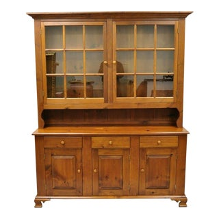 Vintage Tom Seely Pine Wood Step Back Hutch Cupboard China Cabinet For Sale