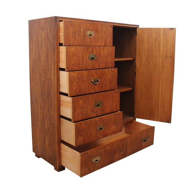 Drexel Heritage 1980s Mid Century Modern Style Highboy Dresser For Sale - Image 4 of 10