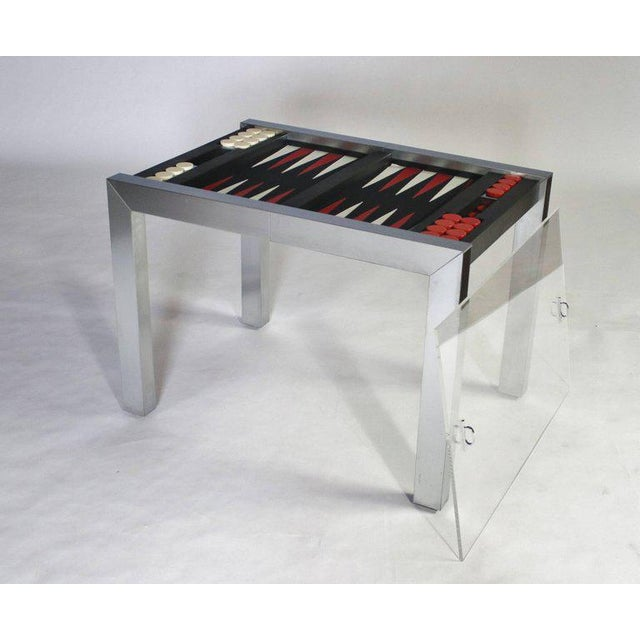Paul Evans studio backgammon game table model P.E. 742 from the PE 800 series for Directional. Chrome-plated steel frame...