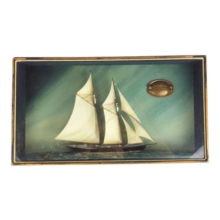 "Vintage ""The Grand Banks Fishing Schooner, Elsie 1910"" Sailing Ship Shadow Box Diorama For Sale"