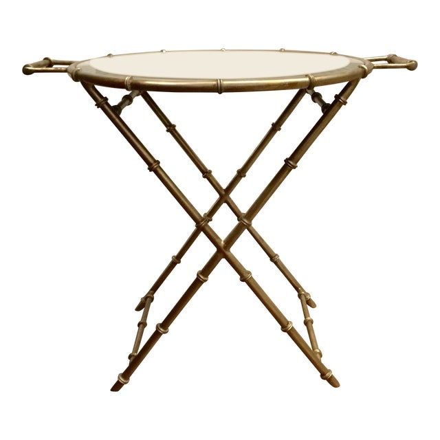 Asian Modern Mirror Top Style Side Table For Sale
