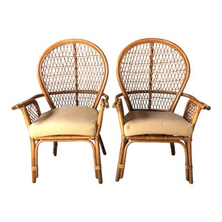 1980s Boho Chic Rattan Fan Peacock Chairs - a Pair For Sale