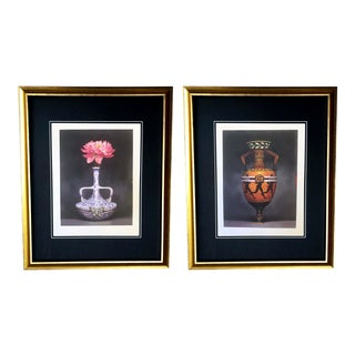 Vintage Framed Gucci Chinoiserie Vase & Vessel Prints- A Pair For Sale