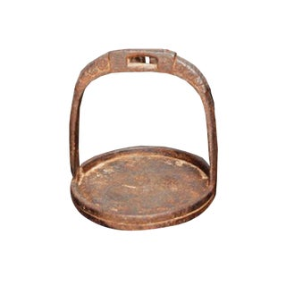 Vintage Iron Stirrup Candle Holder For Sale