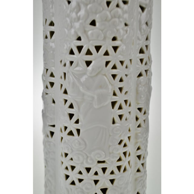 Seyei Blanc De Chine Reticulated Porcelain Lamp - Image 10 of 11