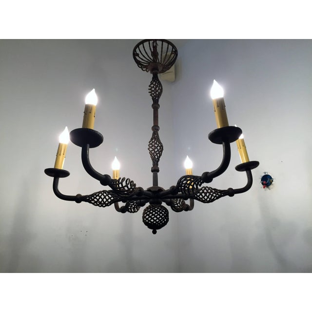 French Moderne 1940s Iron Chandelier For Sale - Image 9 of 11