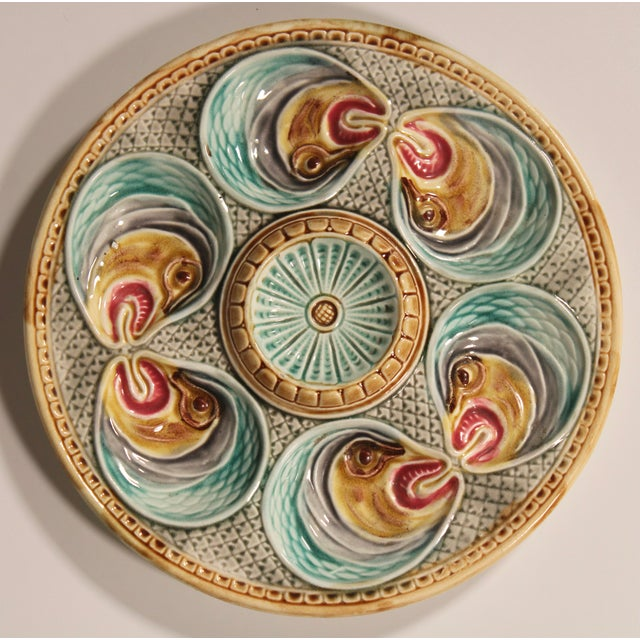 Majolica Fish Heads Oyster Plate by Onnaing, 1800s For Sale - Image 13 of 13