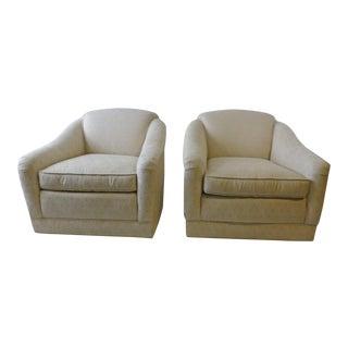 1980s Regency Custom Barrell Club Swivel Chairs - a Pair
