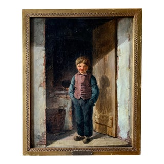 "Christian Andreas Schleisner 1810-1882 ""Boy in Doorway"" Danish Oil Painting For Sale"