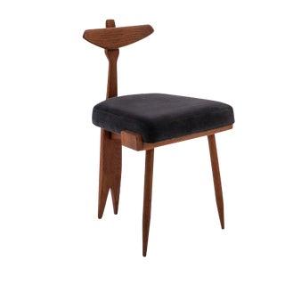 Mid-Century Modern Guillerme Et Chambron Oak and Velvet Side Chair For Sale